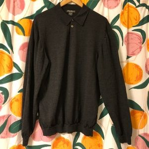 Eddie Bauer merino wool charcoal grey polo sweater